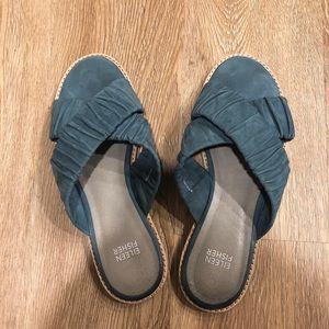 Eileen Fisher Cross Flat Suede Slide Sandal